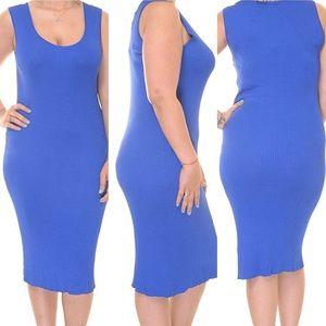 Lauren Ralph Lauren Blue Rib Knit Sweater Dress XL